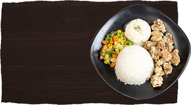 Wooden Background with chicken and rice plate