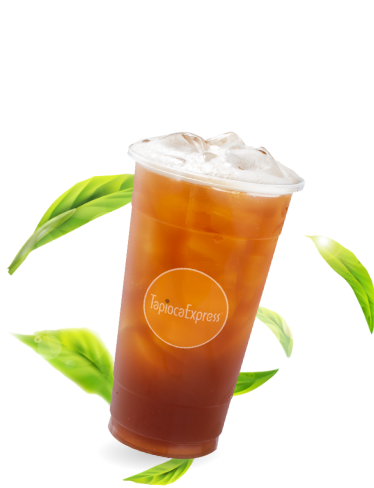 Tea Drink with Leaves in background